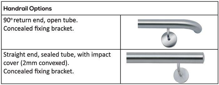 Interspec Stainless Steel Balustrade Handrail Options